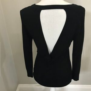 Express ribbed black open back sweater